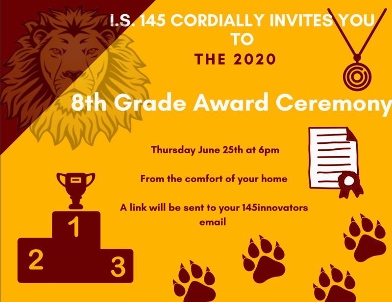 Invitation to our 8th Grade Awards ceremony