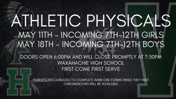 graphic explains WISD physicals for girls will be on May 11 and boys on May 18 at WHS at 6 pm