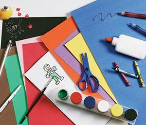 colorful construction paper and craft supplies