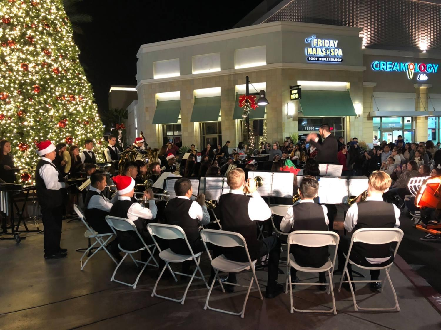 Wind Ensemble Performing at the Whittwood Tree Lighting Ceremony
