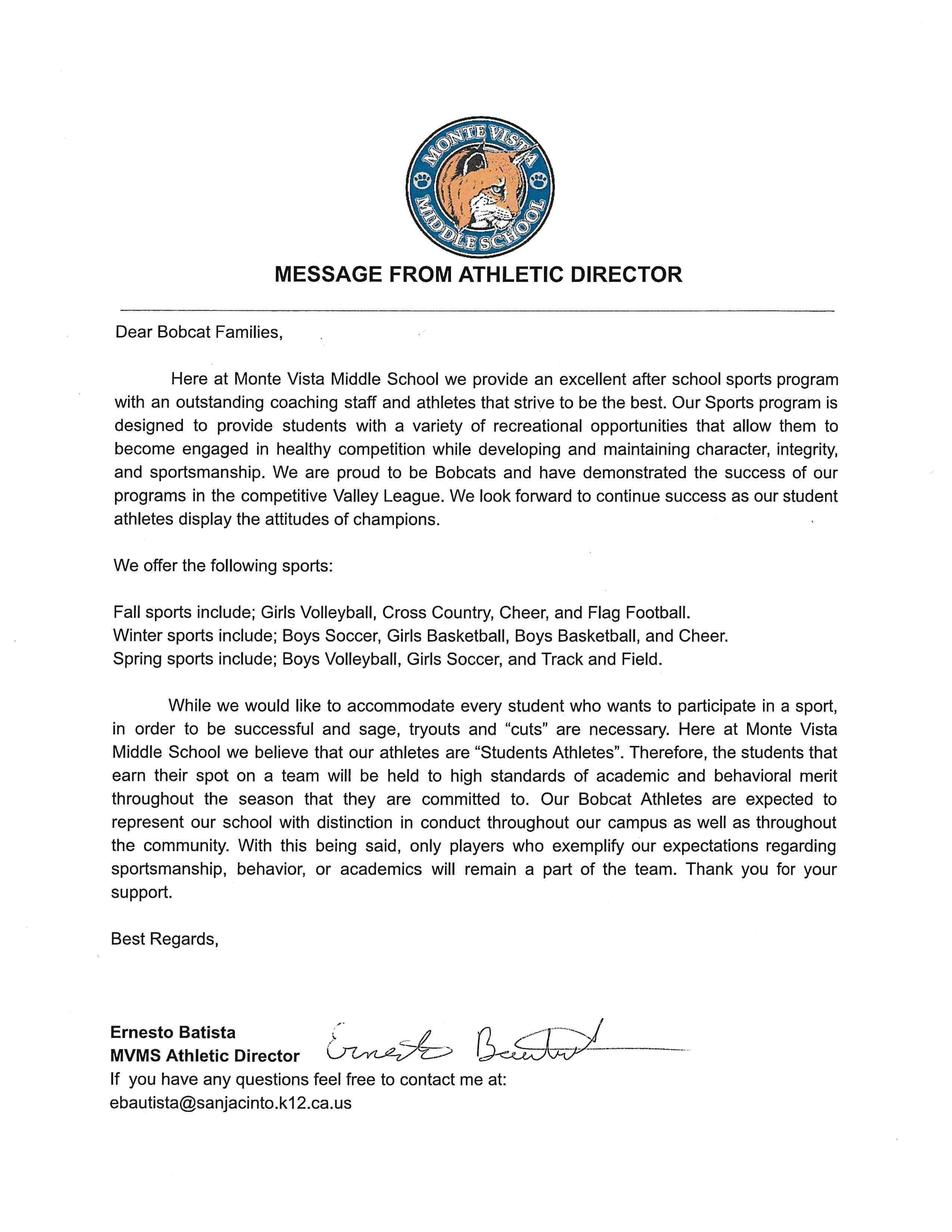 MESSAGE FROM ATHLETIC DIRECTOR