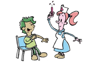 Student receiving a shot from a nurse