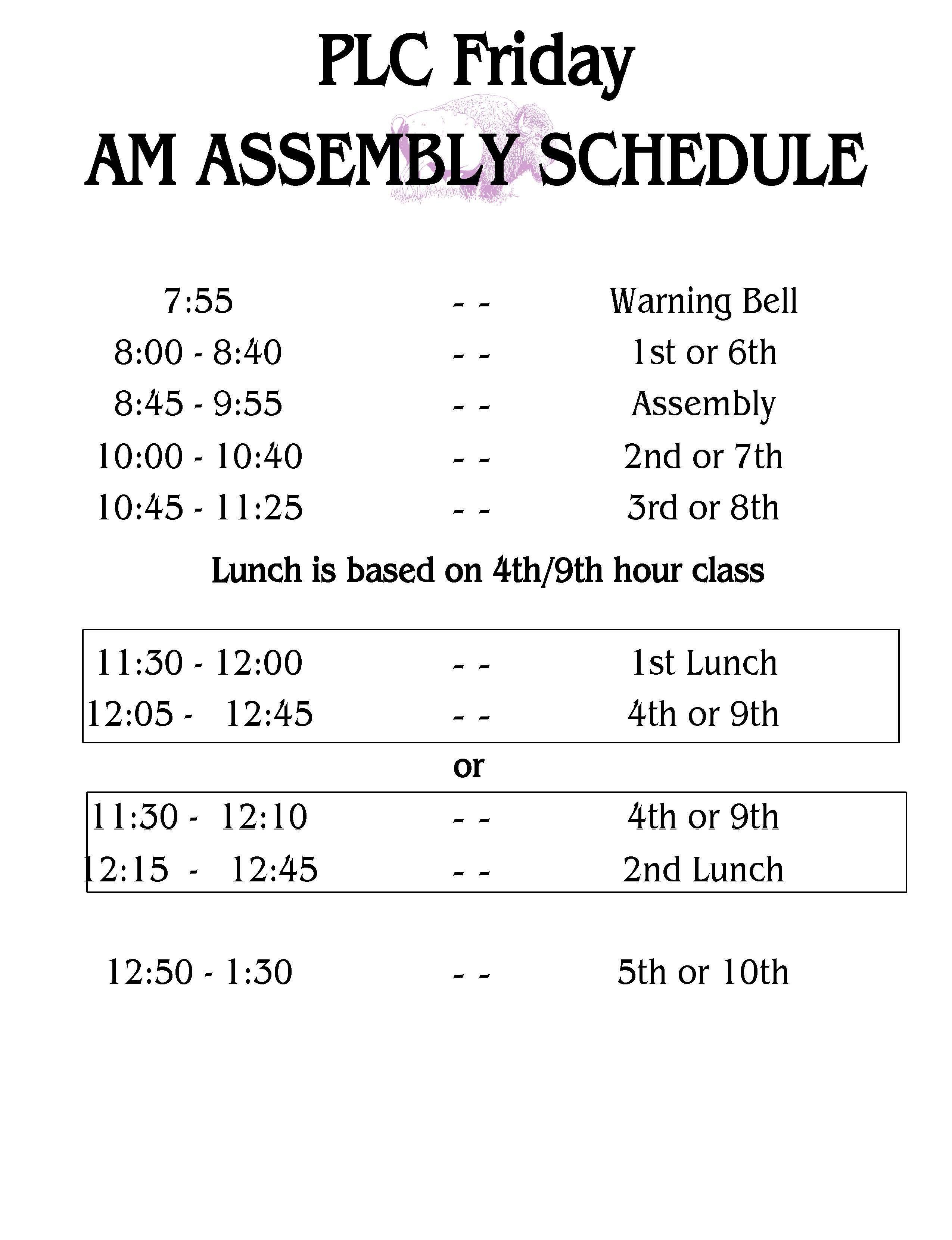 Friday AM assembly schedule
