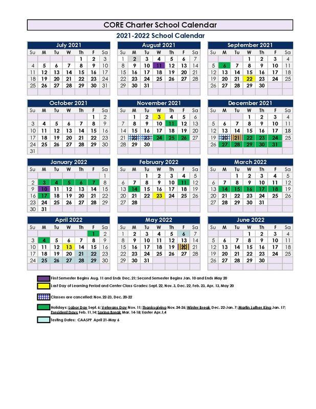 2021/22 Parent Calendar