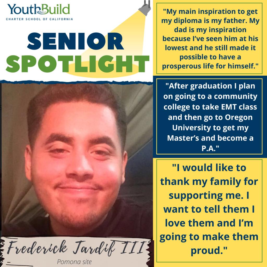 Senior Spotlight for graduate Frederick Tardif