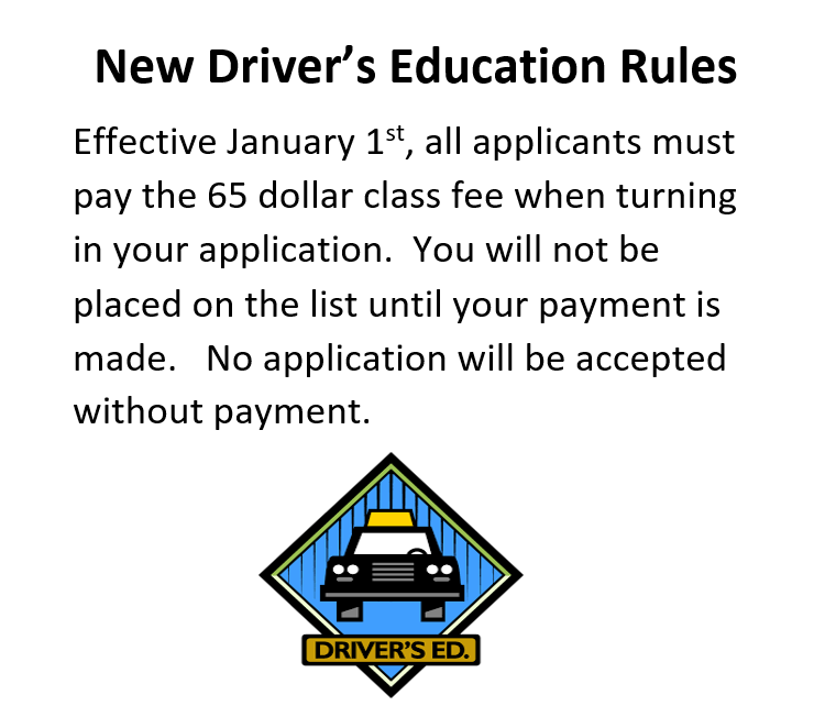 All applications must include the $65 class fee in order to be placed on the list.