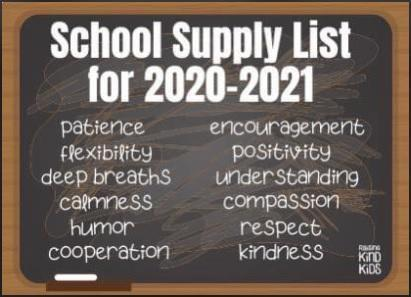 (Pandemic) School Supply List for 2020-2021