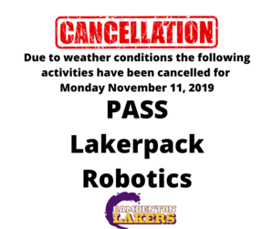 Due to weather conditions the following activites have been cancelled for Monday November 11, 2019.png