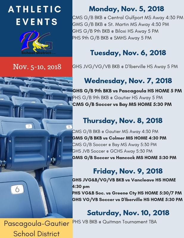 Athletic Events for Week of Nov. 5, 2018
