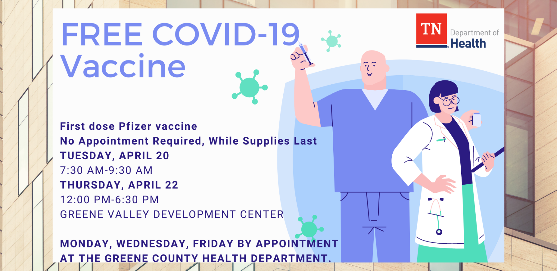 Free Covid-19 Vaccinations Available at these sites.