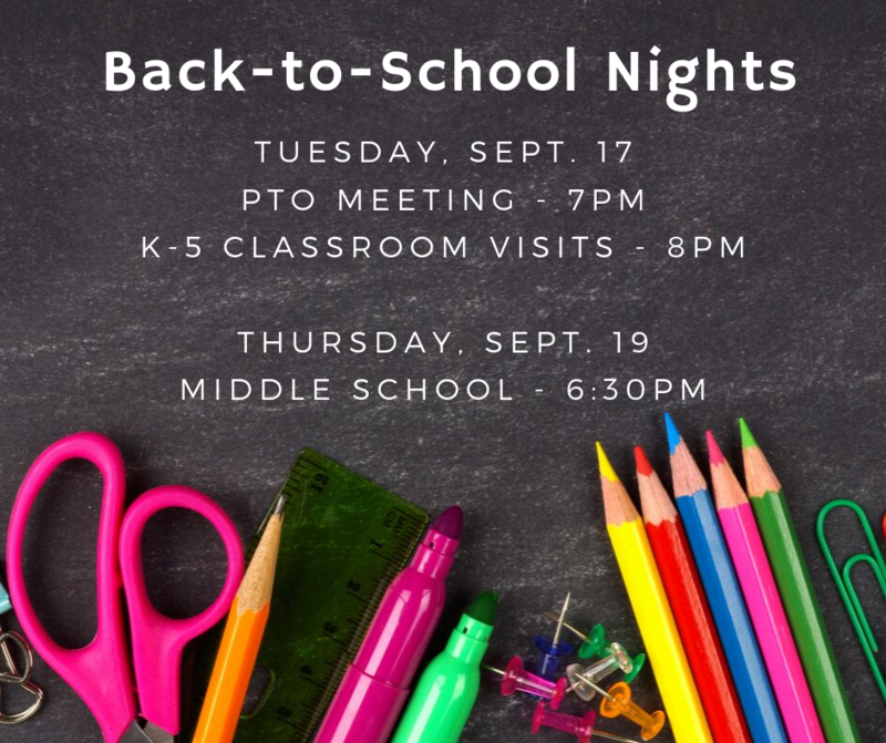Back-to-School Nights - Sept. 17 & 19 Featured Photo