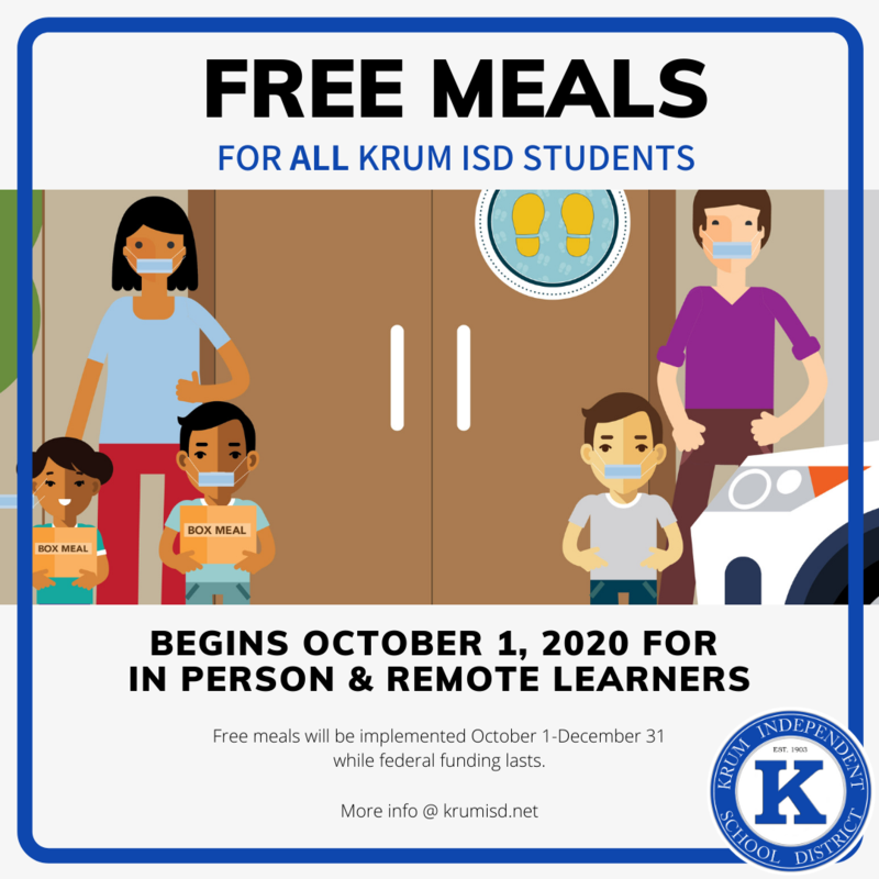 Krum ISD to Offer Free Meals to All Students Under New Program Featured Photo