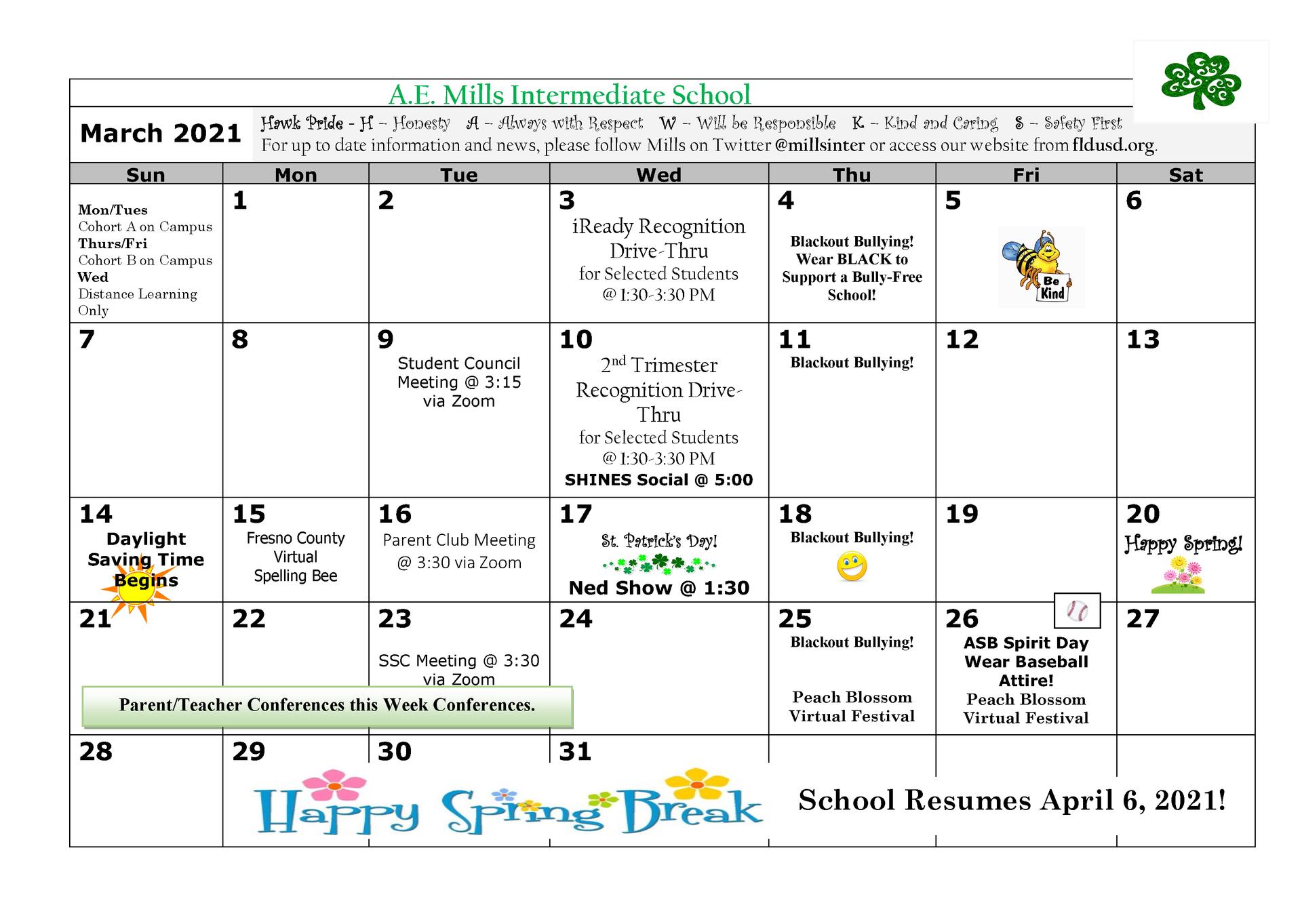 March Eng Calendar