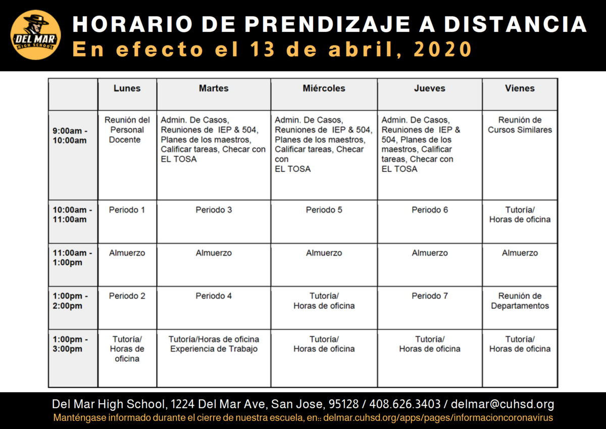 image of distance learning schedule effective april 13, in spanish