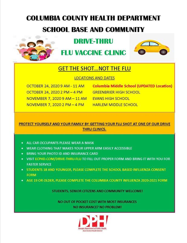 Flyer for Drive Through Flu clinic