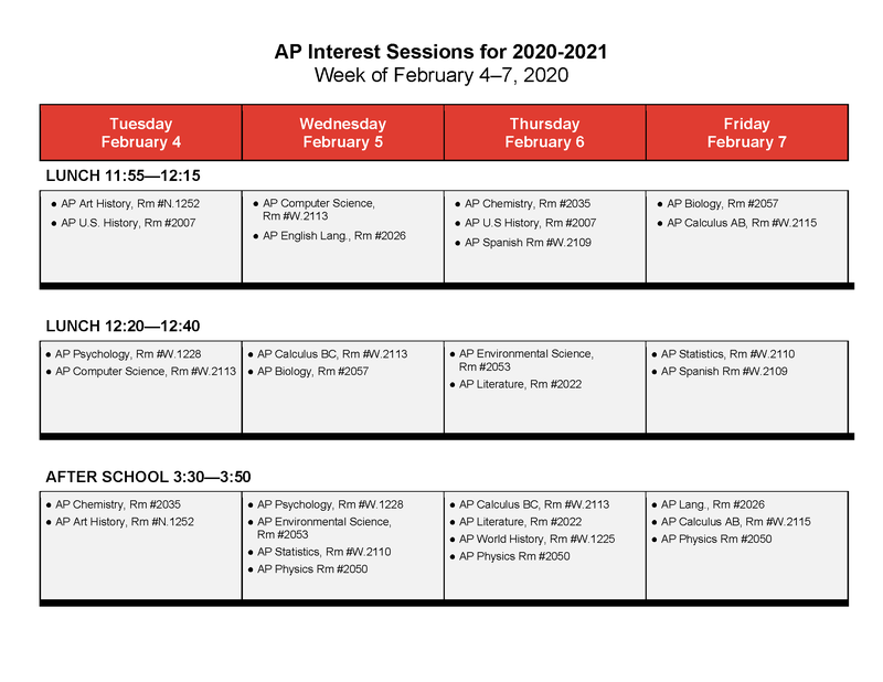 AP interest sessions for 2020-2021