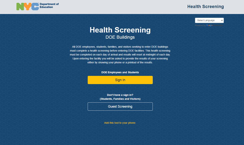 DOE HEALTH SCREENING LINK