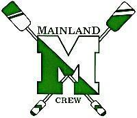 """Mainland crew team logo, a green and white """"M"""" with two oars making an """"X"""" behind it"""