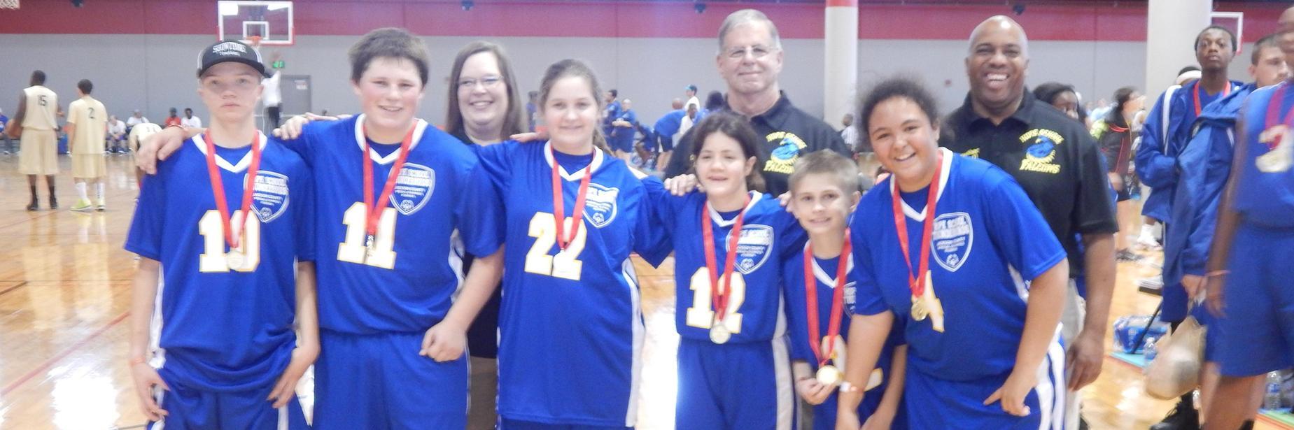 hope basketball team receiving medals