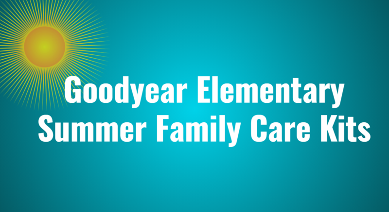 Image of sun and announcement of summer family care kits.