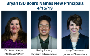 Bryan ISD Board Names New Principals