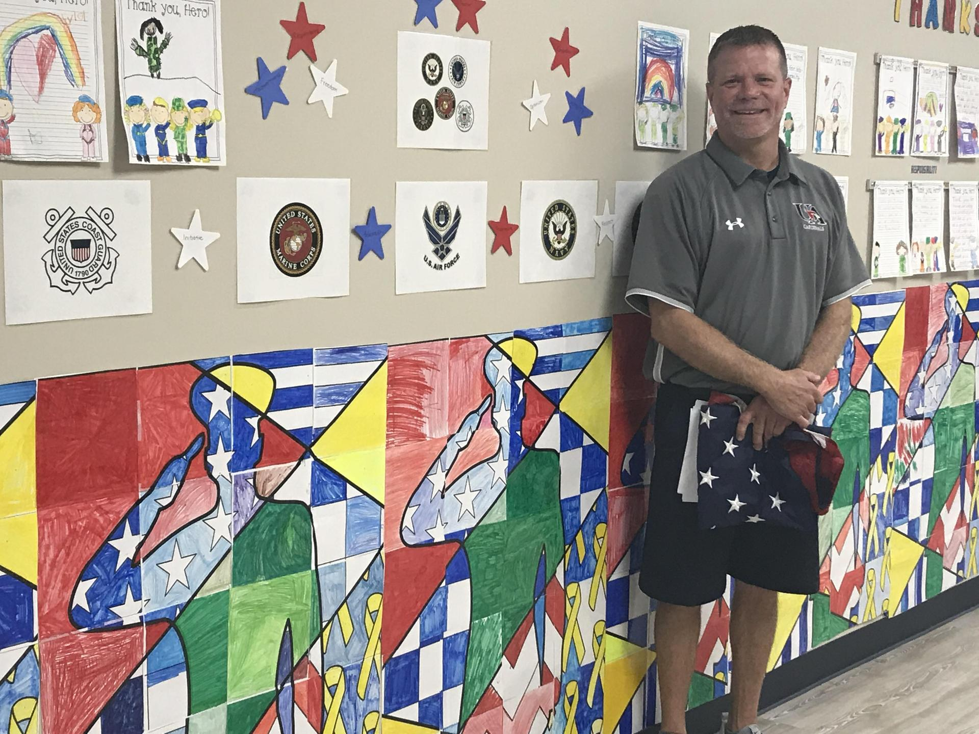 Coach Gregory is the veteran who spoke to our Kindergarteners.  Thanks for your service, Coach Gregory!