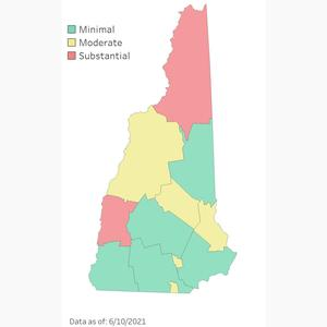COVID map of New Hampshire