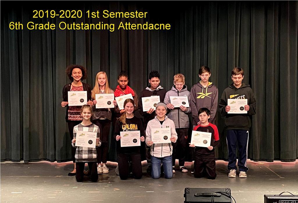6th Grade Outstanding Attendance