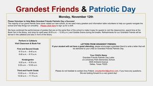 Grandest Friends & Patriotic Day celebration on Monday November 12th.