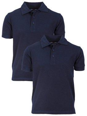 2 blue polo shirts