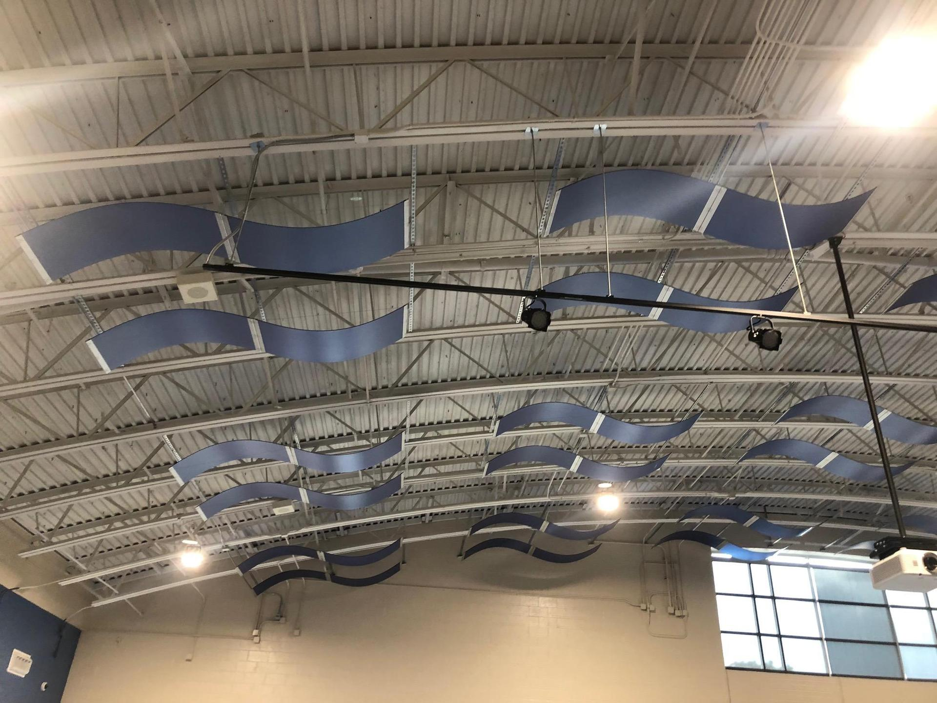 New cafeteria ceiling designed like an airplane hanger