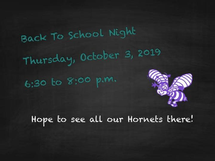 Back to School Night!  Thursday, October 3, 2019 from 6:30 to 8:00 p.m.  Join us!