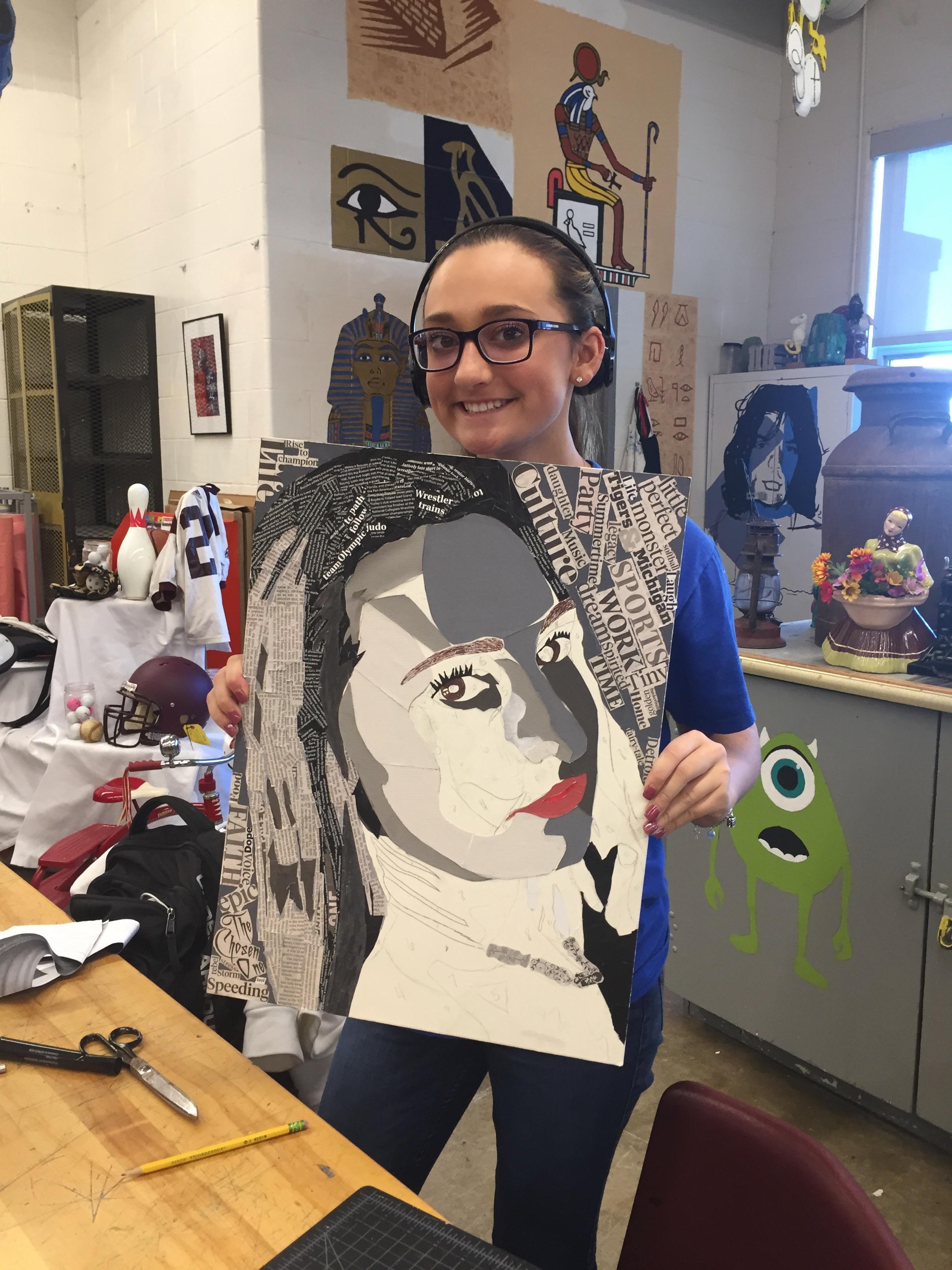 Sophie Warsko showing her artwork