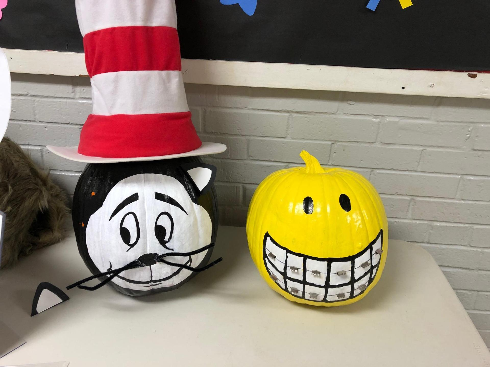 Cat in the Hat and Smile pumpkin