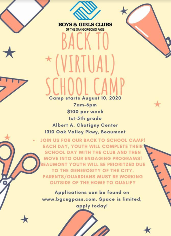 Boys & Girls Back To (Virtual) School Camp