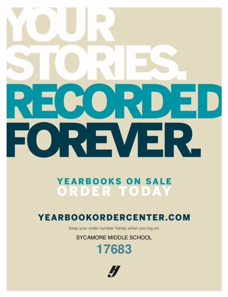 Yearbooks are on sale online at yearbookorder.com. 17683 is the code for SMS Yearbooks.