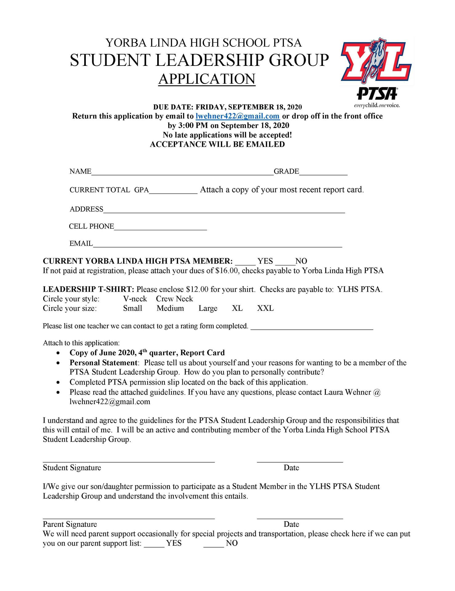 PTSA Leadership Application