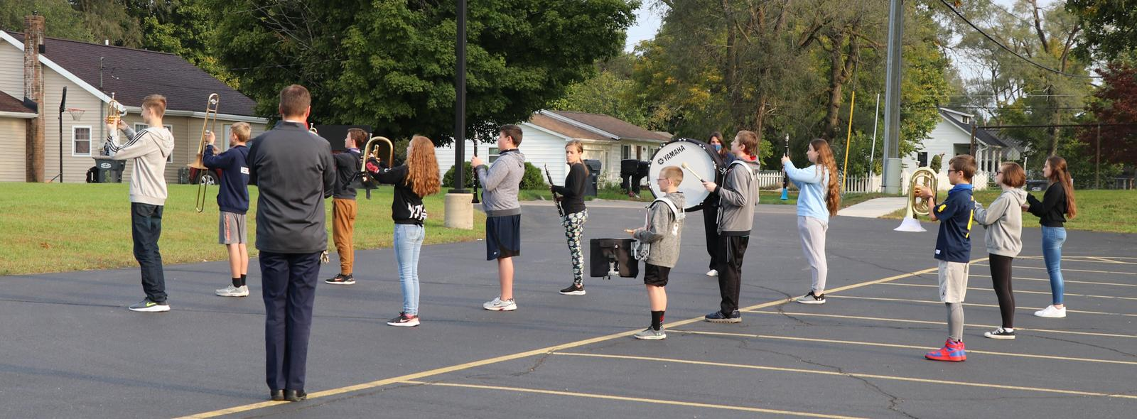 marching band practice outside
