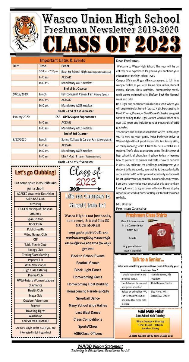 Freshman Newsletter Page 1