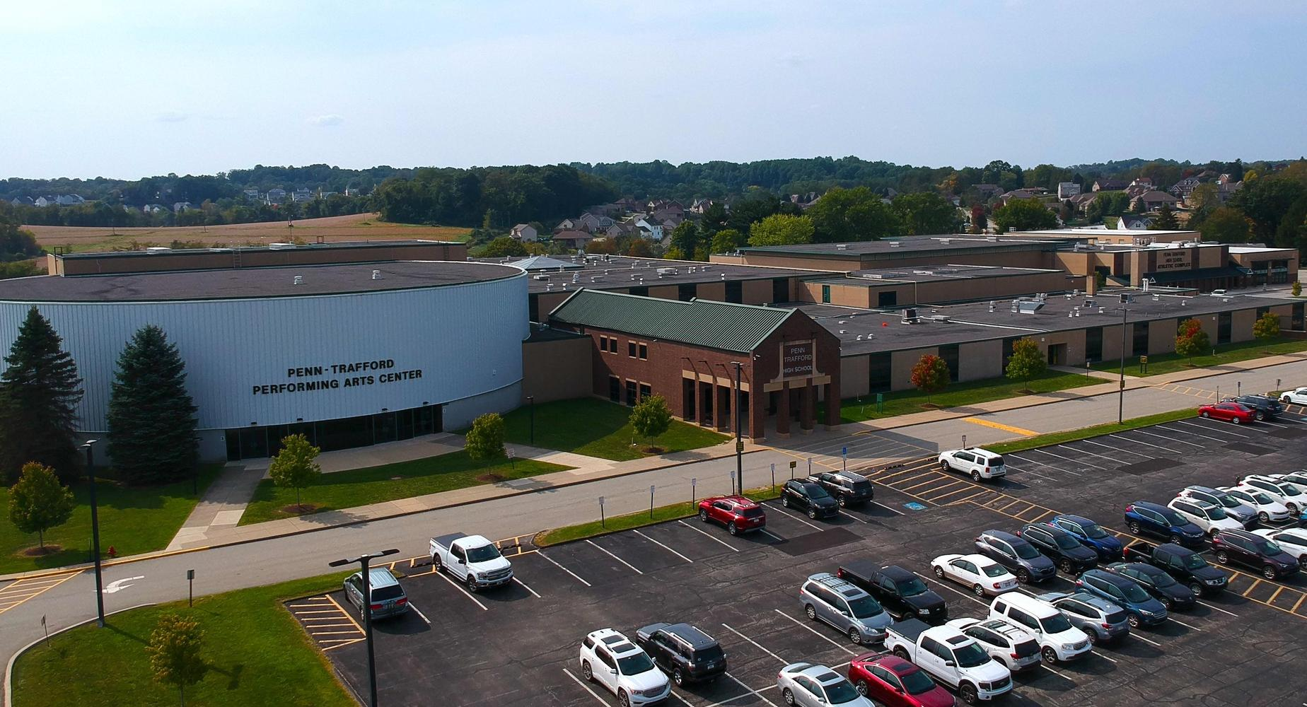 aerial view of high school