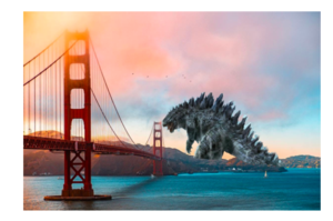 graphic design of Godzilla next to Golden Gate Bridge