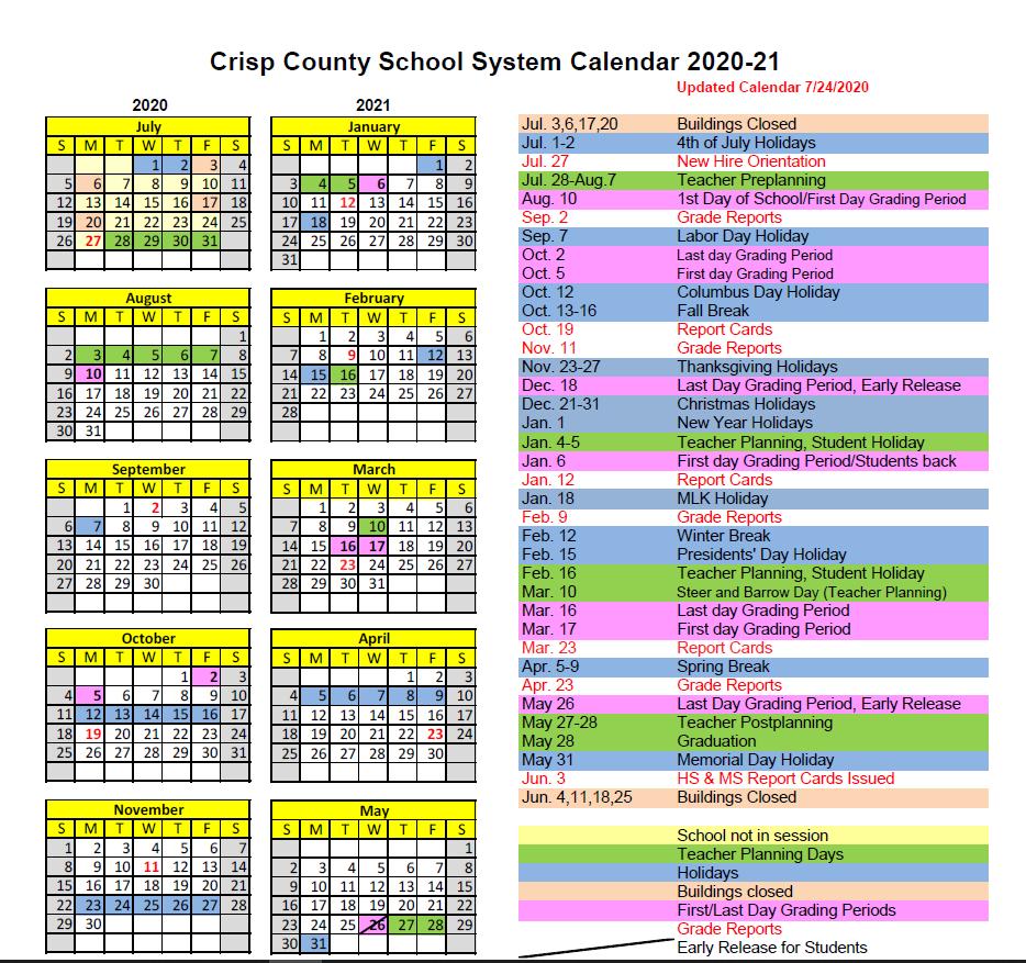 School Calendar 2020-2021 modified Sept 2
