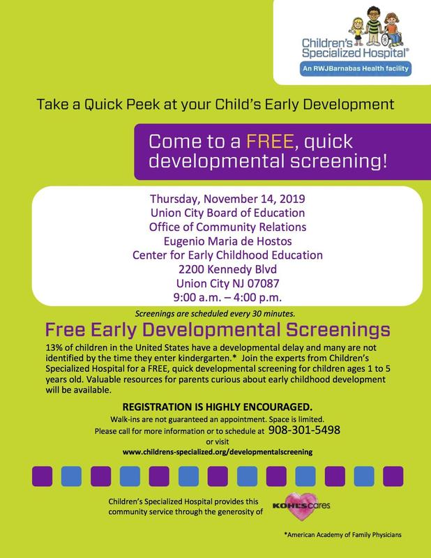 free early developmental screening flyer