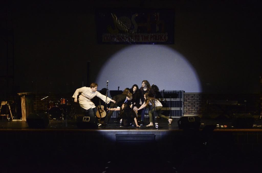 Upper School students performing on stage