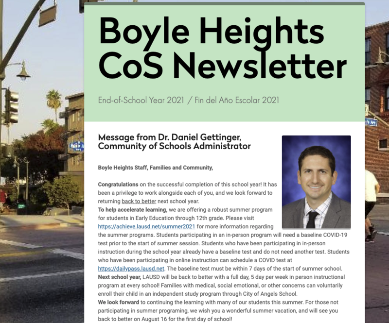 Boyle Heights Community of Schools Newsletter- End-of-School Year 2021 Featured Photo