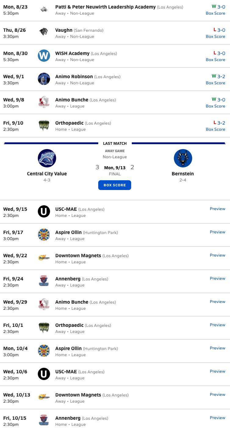Girls Volleyball 2021-2022 Schedule