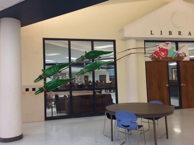 Christmas Gator decorations at GHS