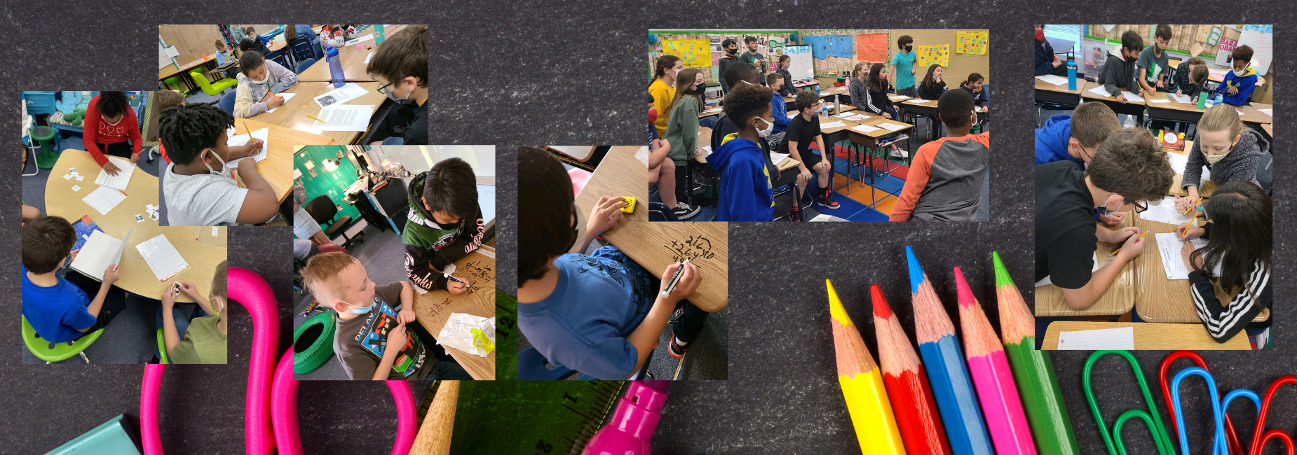 collage of elementary students busy working in class