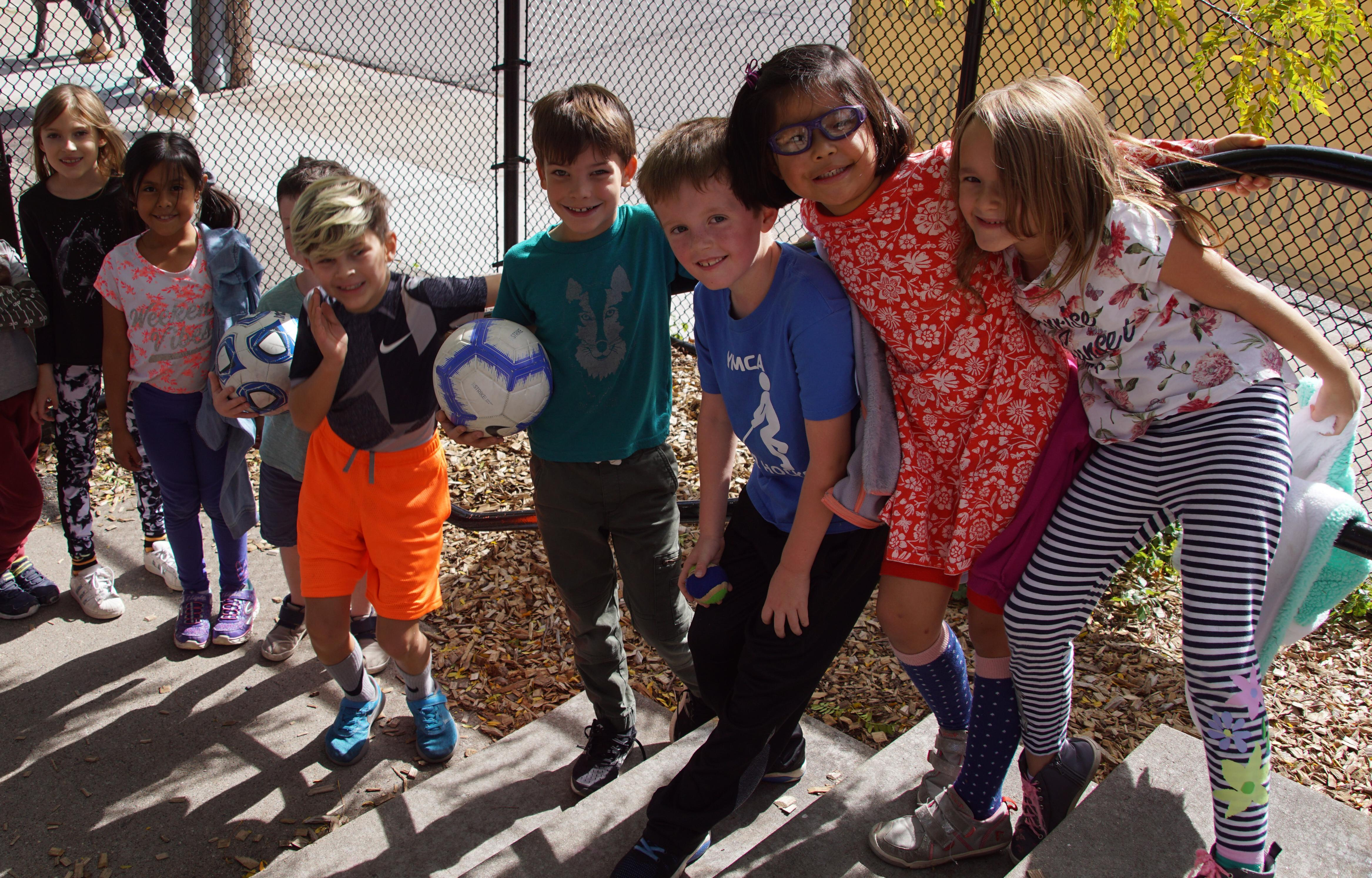 Students lined up for recess