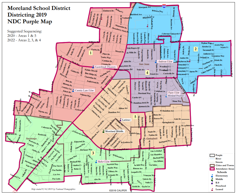 Proposed Map 3: National Demographics Corporation Purple Map Option for Moreland School District By-Trustee CVRA Process